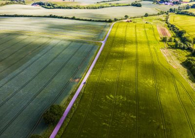 Smukt dronefoto af mark nær Kolding
